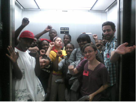 Chicago students in elevator